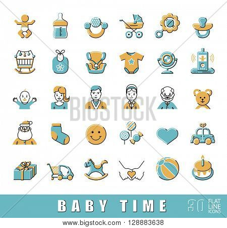 Set of flat line icons for baby care, feeding and play. First year of parenting. Collection of baby time icons. Accessories for newborn in the family. Love, care, family life. Vector illustration.