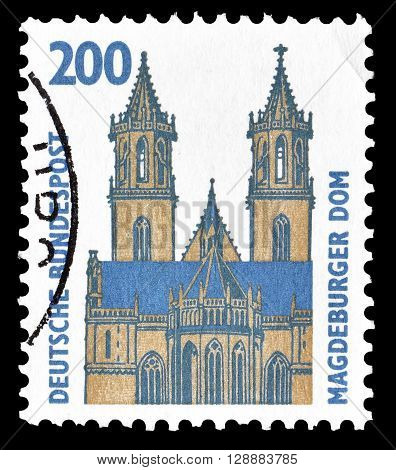 GERMANY - CIRCA 1993 : Cancelled postage stamp printed by Germany, that shows Magdeburg Cathedral.