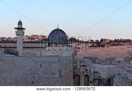 Israel Jerusalemview of the Al-Aqsa mosque after the sunset