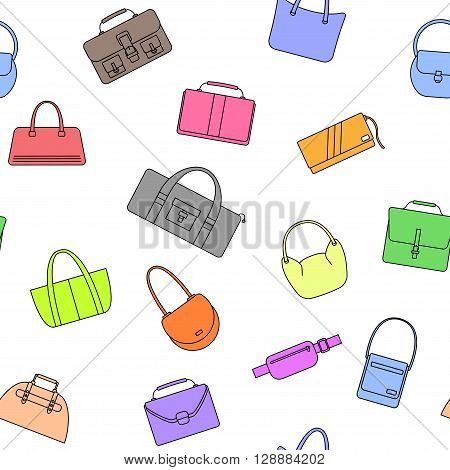 Bag, purse, handbag and suitcase simple icons seamless pattern. Vector illustration.
