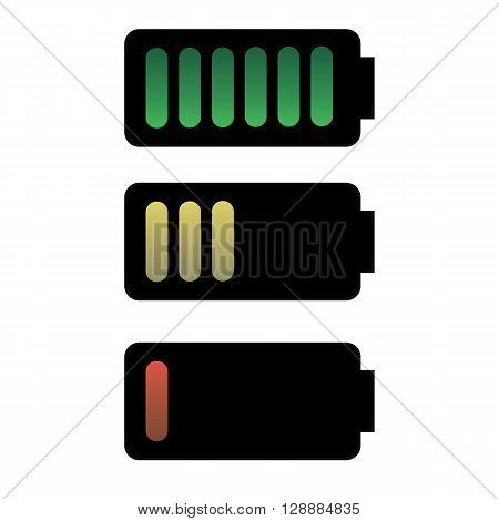 Battery charge status. vector illustration. three batteries
