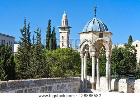 Israel Jerusalem viwe on the old city from the Temple Mount (Har Habait)