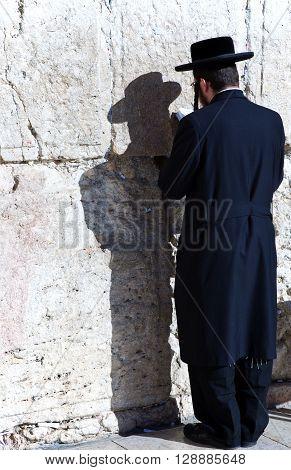 Jerusalem Israel - November 3 2010: An orthodox jews in prayer at the Western Wall