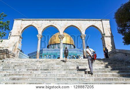 Jerusalem Israel - November 4 2010: A gateway to the Temple Mount (Har Habait)