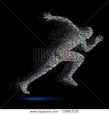 Running Man in the Form of Color Particles