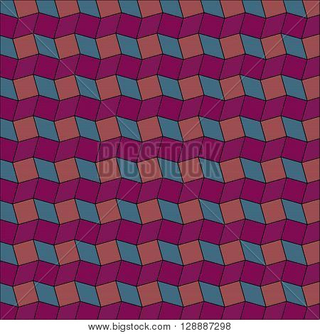 Abstract geometric background of purple teal and dark coral rhombus and square shapes