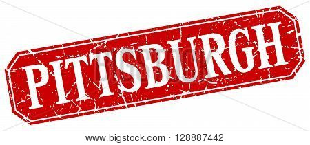 Pittsburgh red square grunge retro style sign