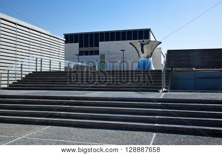 Israel, Jerusalem, the Israel Museum entrance staircase