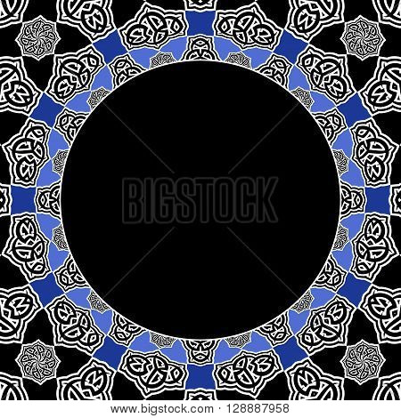 A Beautiful Arabesque Pattern Circle Cover Frame
