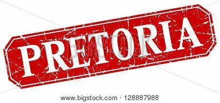 Pretoria red square grunge retro style sign