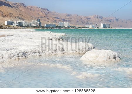 deposits of mineral salts, typical landscape of the Dead Sea, Israel
