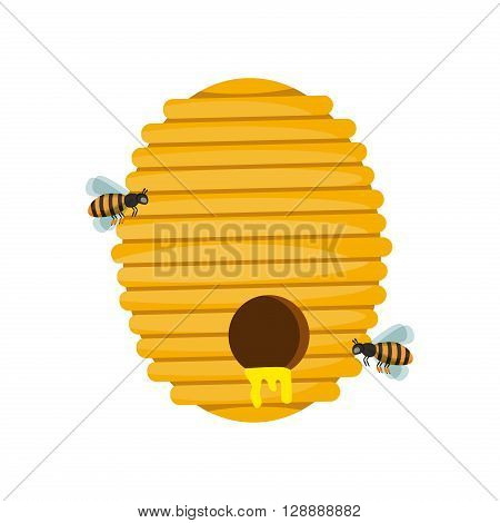 Board illustration of beehive surrounded by bees. Bee hive cartoon vector and honey bee hive natural yellow insect home. Bee hive animal and bee hive beekeeper isolated design. Gold pollen fly organic