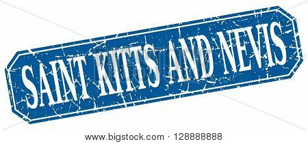 Saint Kitts And Nevis blue square grunge retro style sign