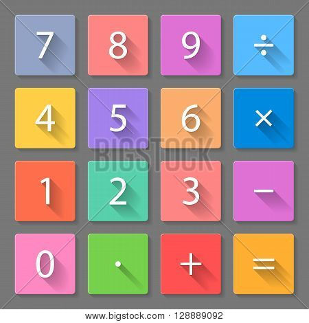 Set of flat colorful calculator icons with long shadows for web design and apps