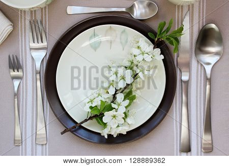 Table setting on wooden table. Wedding mockup.