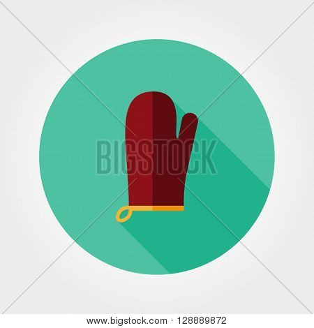 Kitchen mitten. Potholder. Icon for web and mobile application. Vector illustration of a button with a long shadow. Flat design style.