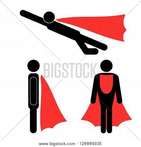 Set of Superhero Icons Isolated on White Background. Symbol of Superhero.
