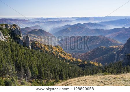 View over misty valley autumn forest with beautiful colors