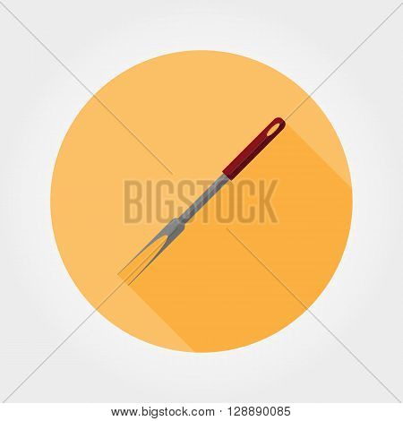 BBQ fork. Icon for web and mobile application. Vector illustration of a button with a long shadow. Flat design style.