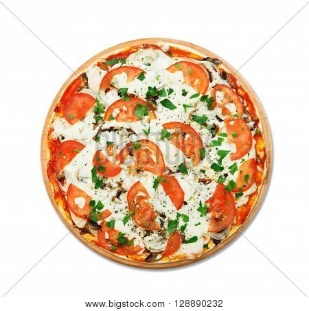 Delicious pizza with mushrooms, tomatoes and chicken meat - thin pastry crust at wooden round desk isolated at white background. Italian food. Top view