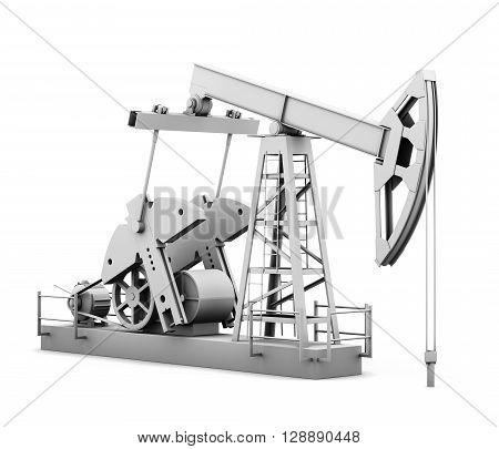 Oil derrick isolated on white background. 3d rendering.