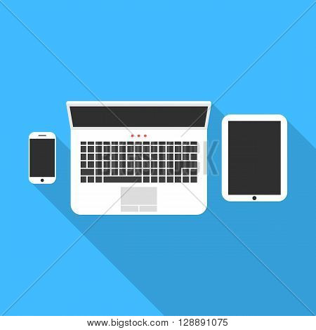 phone notebook and tablet with long shadow. concept of workspace, freelance, teamwork, coworking center, workstation. isolated on blue background. flat style trendy modern design vector illustration