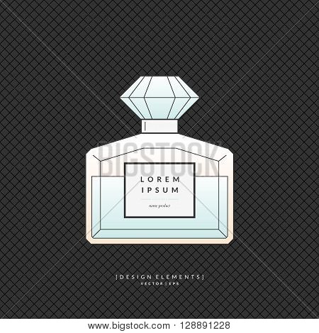 A classic bottle of perfume. Vector illustration.