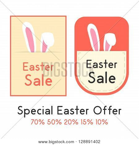 special easter offer with two sale card. concept of shopping, marketing, special presentation, retail, pricetag. isolated on white background. flat style trendy modern design vector illustration