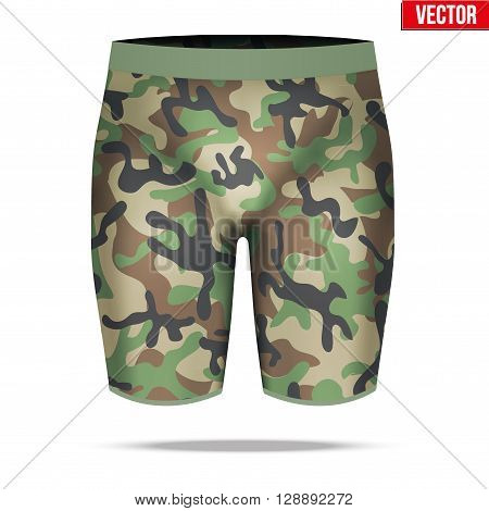 Base layer underwear compression shorts of thermal fabric in woodland camouflage style. Sample typical technical illustration.  Vector Illustration isolated on white background