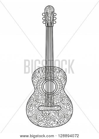 Acoustic guitar coloring book for adults vector illustration. Black and white lines. Lace pattern