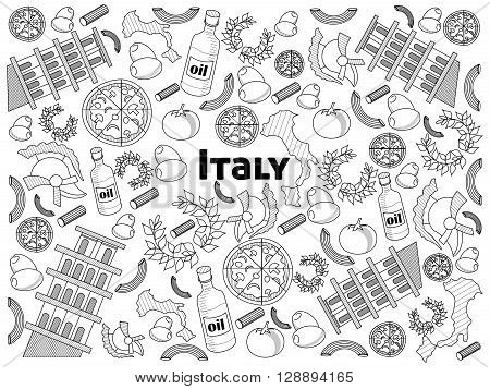 Italy design colorless set vector illustration. Coloring book. Black and white line art
