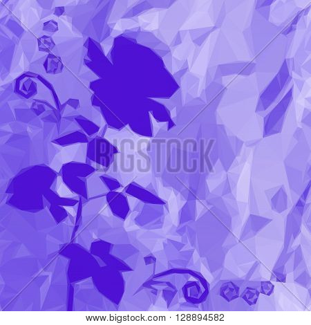 Holiday Floral Background with Flower Rose Silhouette and Abstract Low Poly Pattern. Vector