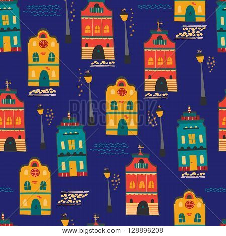 Night city seamless pattern with houses and lanterns. Vector background. For greeting cards, travel brochures, souvenir production, wallpaper, surface textures, scrapbooking and fabric prints.
