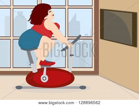 Fat young cute girl is engaged on a stationary bike in front of the window overlooking the daytime city . Vector illustration.
