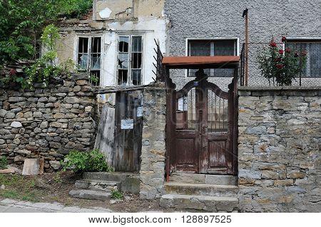 VELIKO TARNOVO BULGARIA - MAY 07 2016: Dilapidated building in the town