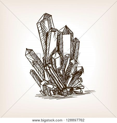 Crystals sketch style vector illustration. Old engraving imitation.