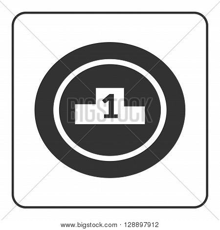 Winner podium icon. Prize pedestal. First second third place award champion or winner. Flat design symbol of platform competition victory. Black sign isolated white background. Vector illustration
