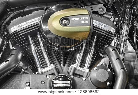 BRNO , CZECH REPUBLIC-MARCH 4, 2016: Detail of V-twin engines of motorcycle Harley Davidson Softail Slim on International Fair for Motorcycles on March 4, 2016 in Brno in Czech Republic