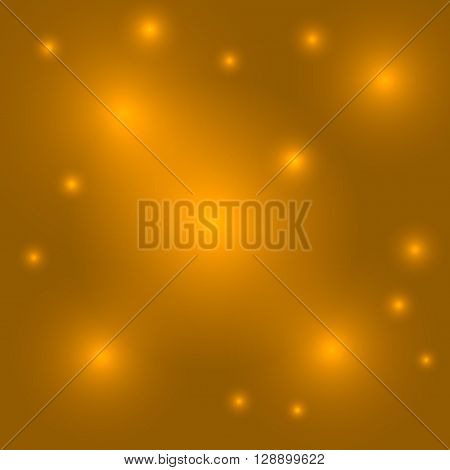 Gold background. Light yellow abstract burst. Golden bling shine. Glitter sparkle and glowing orange circles. Decorative template for holiday christmas. Graphic design hot effect Vector illustration