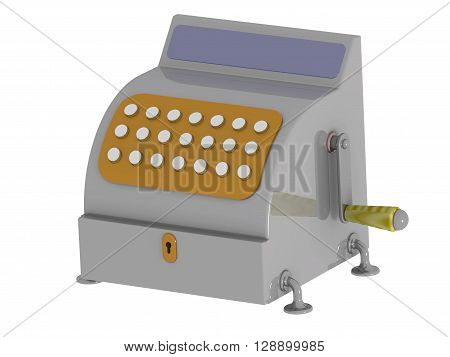 Cash register. A symbolic cash register. Isolated. 3D Illustration