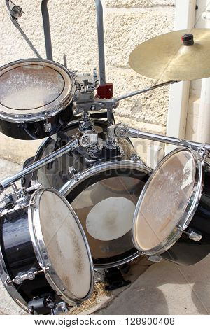 Modern drum set prepared for playing Drummer music band night show sound recording concept
