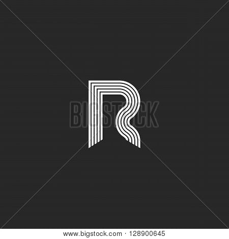 Logo D Letter Monogram Thin Lines Style, Graphic Design Element Business Card Emblem Or Initial Wedd