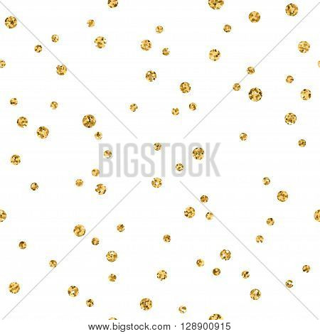 Polka dots seamless pattern. Gold glitter and white template. Abstract geometric texture. Golden circles. Retro Vintage decoration. Design template wallpaper wrapping fabric etc. Vector Illustration