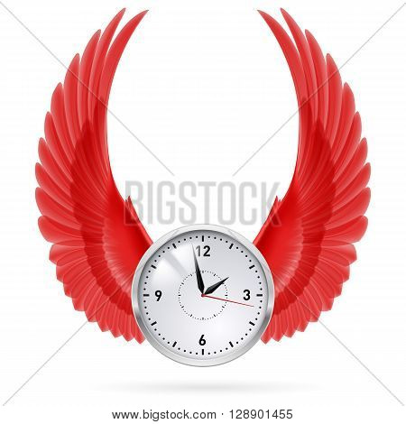 White clock and red vertical wings. Time.
