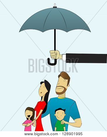 Happy and loving family with children under umbrella. Conceptual image of insurance, social security, protection, security service. Vector