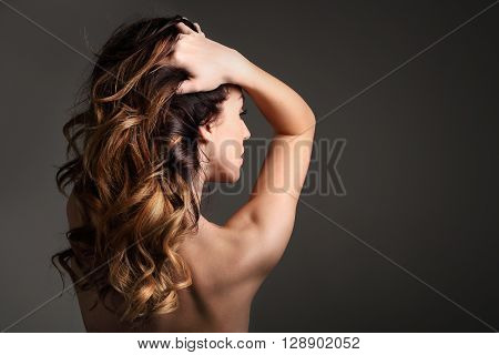 Long healthy and shiny hair, long women's hair.