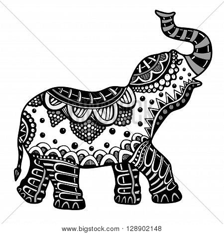 Indian elephant. Hand drawn doodle indian elephant with tribal ornament. Vector ethnic elephant.