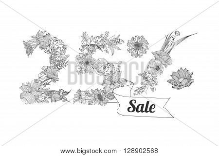 twenty five (25) percents sale. Vector floral linear digits