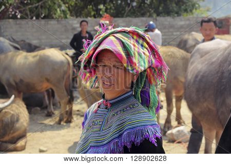 Sa Pa, Vietnam , 5 april 2015: woman from the Colored Hmong ethnic group in traditional dress and a scarf on her head