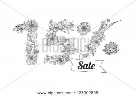 fifteen (15) percents sale. Vector floral linear digits
